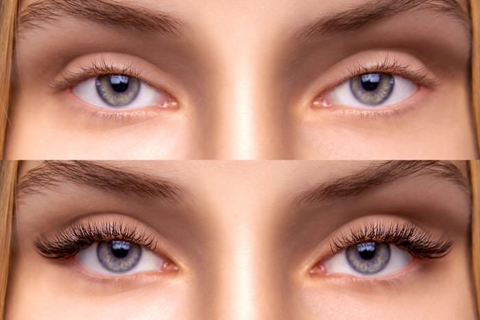 Eyelash-Extension-Comparison-of-female-eyes-before-and-after
